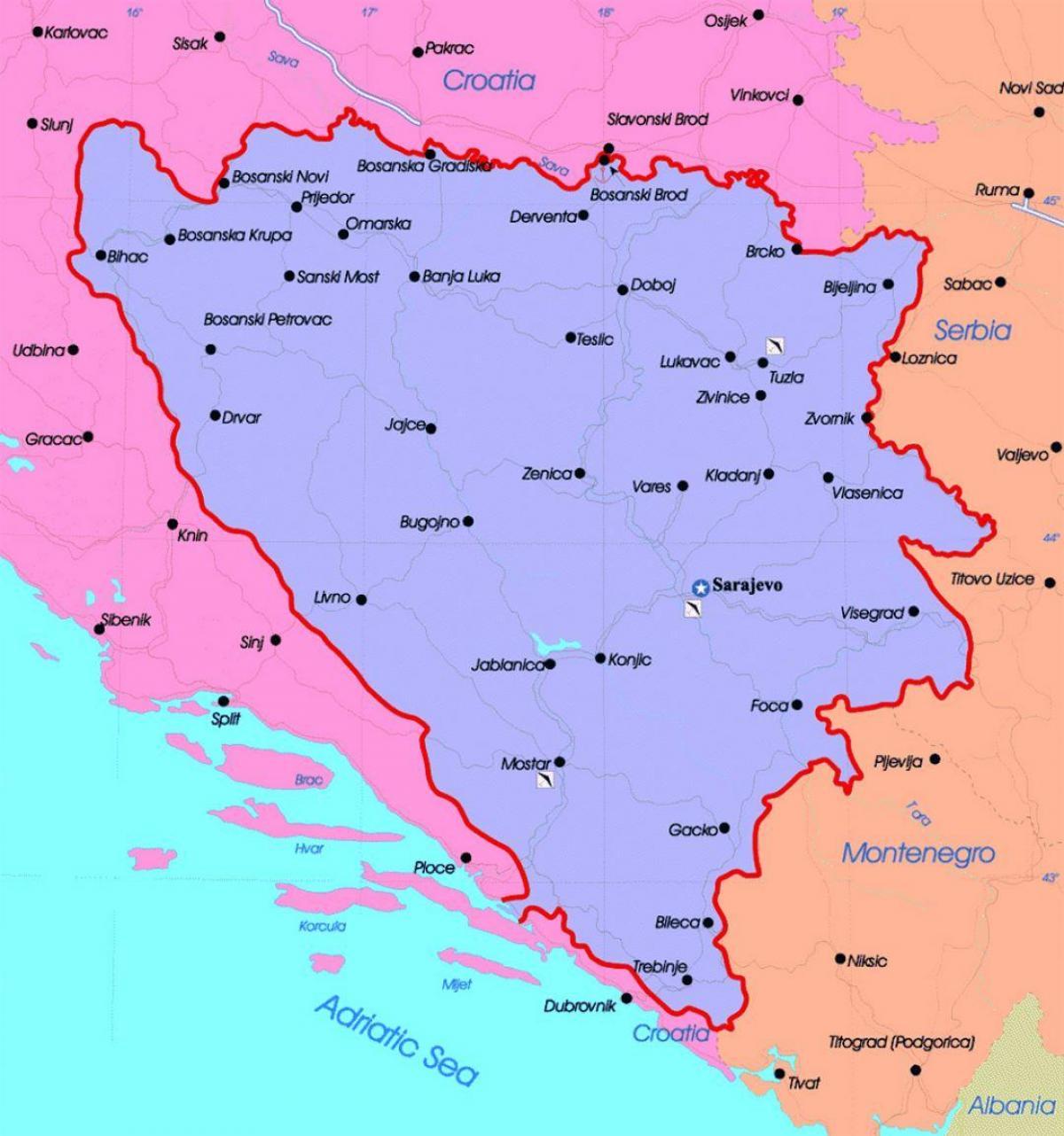 Mapa Polityczna Bosnia Bosnia I Hercegowina Mapie Politycznej